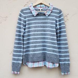 Joie Gray Stripe Rika Cashmere Sweater Size Medium